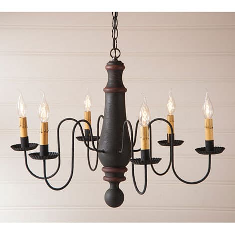 Large Norfolk Chandelier in Hartford Black over Red with Red Stripe Image