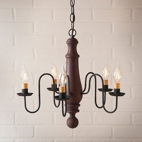 Medium Norfolk Chandelier in Hartford Red over Black Image
