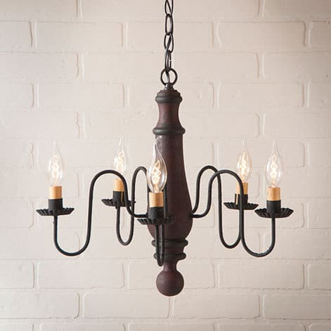 Medium Norfolk Chandelier in Hartford Red over Black with Black Image