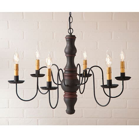 Gettysburg Chandelier in Hartford Black over Red with Red Stripe Image