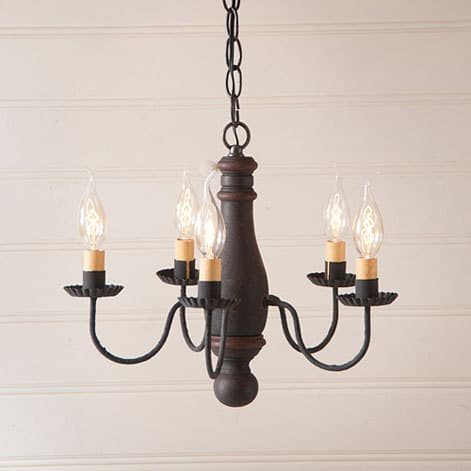 Bed and Breakfast Chandelier in Hartford Black over Red with Red Stripe Image