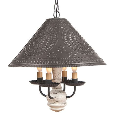 Homespun Wooden Shade Light in Americana Vintage White Image