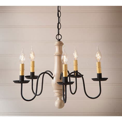 Medium Wooden Norfolk Chandelier in Sturbridge White Image