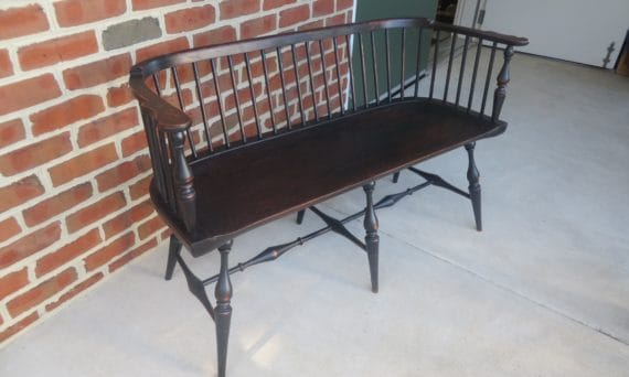 primitive low back windsor settee