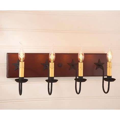 Four Arm Vanity Light with Stars in Sturbridge Red Image