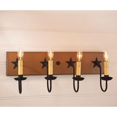 Four Arm Vanity Light with Stars in Sturbridge Mustard Image