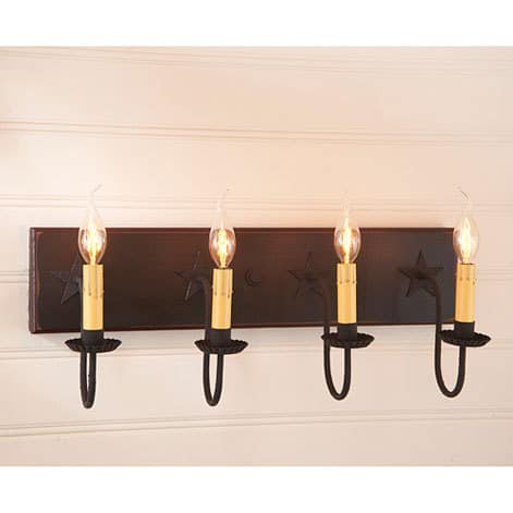 Four Arm Vanity Light with Stars in Sturbridge Black with Red Stripe Image