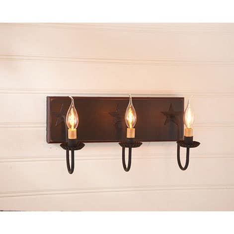 Three Arm Vanity Light with Stars in Sturbridge Black with Red Stripe Image