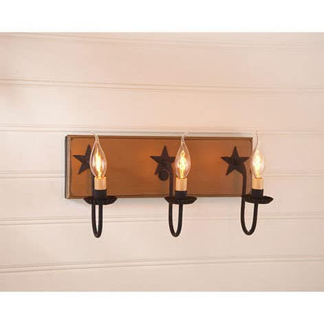 Three Arm Vanity Light with Stars in Sturbridge Mustard Image
