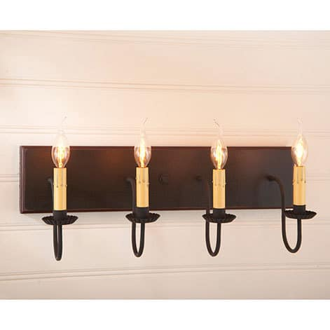 Four Arm Vanity Light in Sturbridge Black with Red Stripe Image