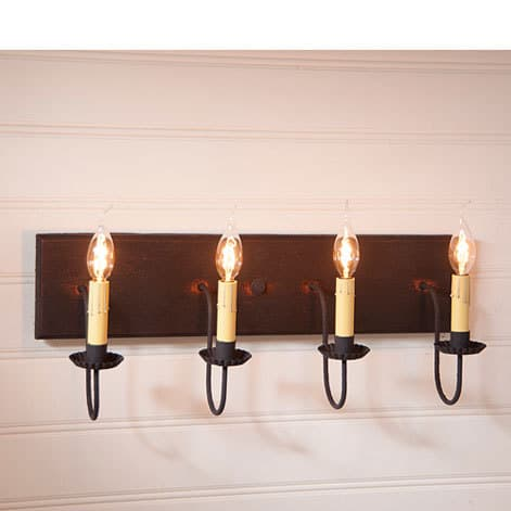 Four Arm Vanity Light in Hartford Black over Red Image