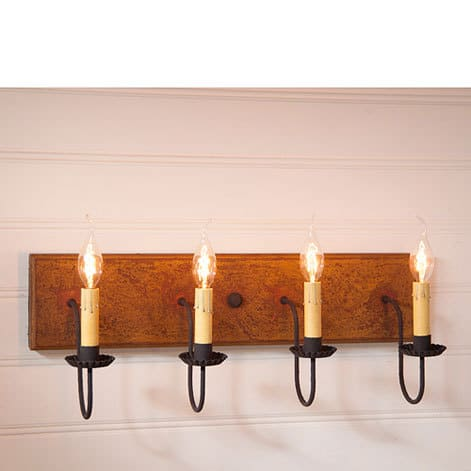 Four Arm Vanity Light in Hartford Mustard over Red Image