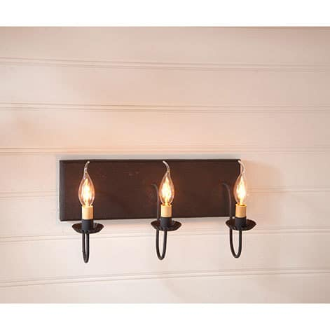 Three Arm Vanity Light in Hartford Black over Red Image