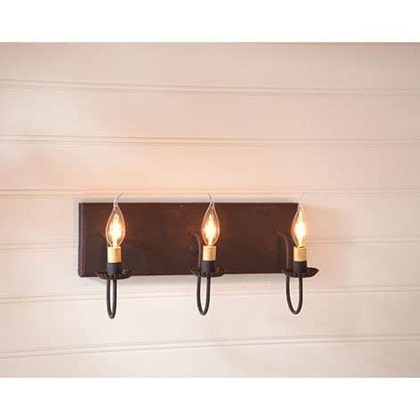 Three Arm Vanity Light in Hartford Black over Red with Red Stripe Image