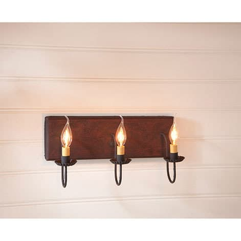 Three Arm Vanity Light in Hartford Red over Black Image