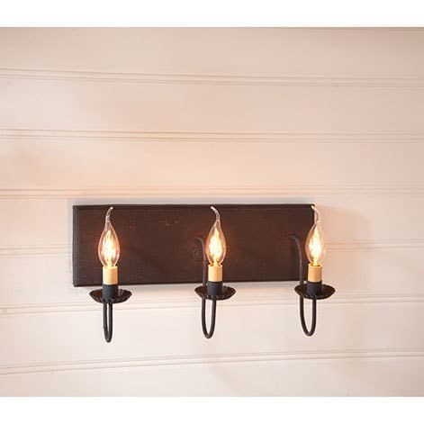 Three Arm Vanity Light in Hartford Red over Black with Black Stripe Image