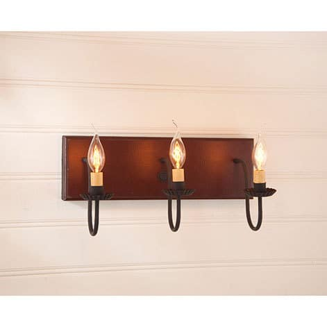 Three Arm Vanity Light in Sturbridge Red Image