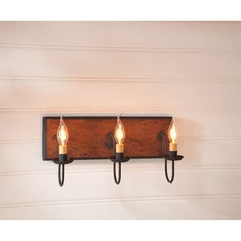 Three Arm Vanity Light in Hartford Pumpkin over Black with Black Stripe Image