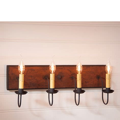 Four Arm Vanity Light in Hartford Pumpkin over Black with Black Stripe Image