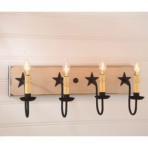 Four Arm Vanity Light with Stars in Sturbridge White Image