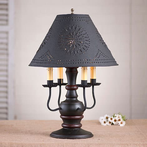 Cedar Creek Lamp in Sturbridge Black with Red Stripe Image