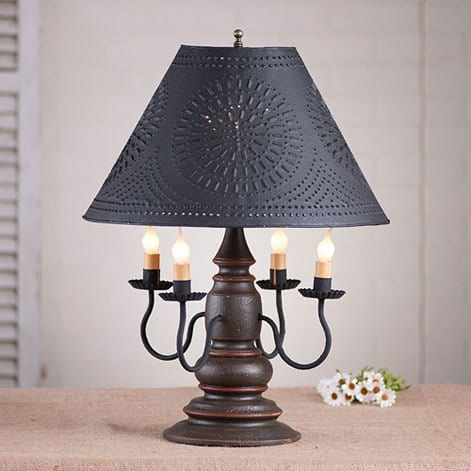 Harrison Lamp in Americana Espresso with Salem Brick Stripe Image