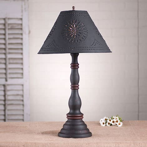 Davenport Lamp in Hartford Black over Red with Red Stripe Image