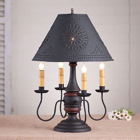 Jamestown Lamp in Hartford Black over Red with Red Stripe Image