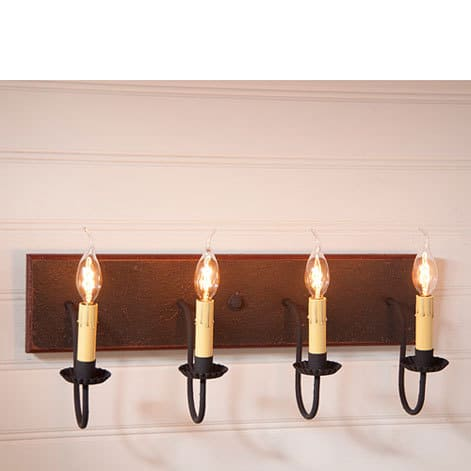 Four Arm Vanity Light in Americana Espresso with Salem Brick Stripe Image