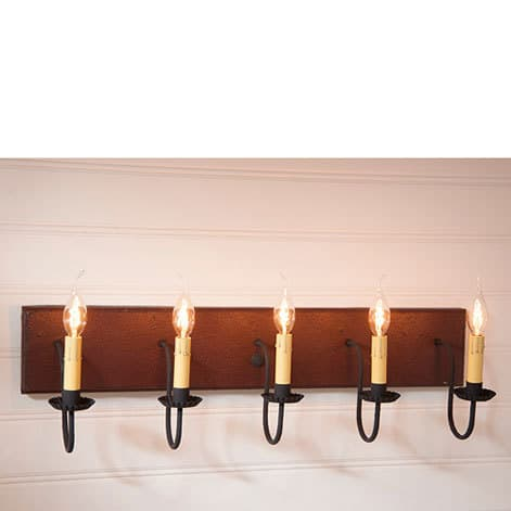 Five Arm Vanity Light in Americana Plantation Red Image