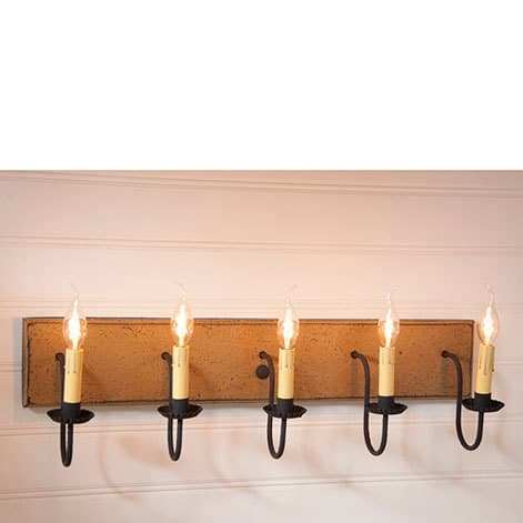 Five Arm Vanity Light in Americana Pearwood Image