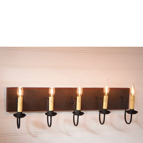 Five Arm Vanity Light in Americana Espresso with Salem Brick Stripe Image