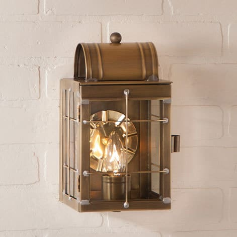 Small Wall Lantern in Weathered Brass Image