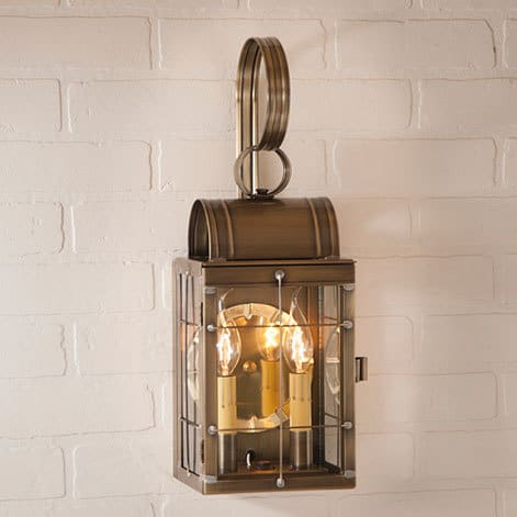 Double Wall Lantern in Weathered Brass Image