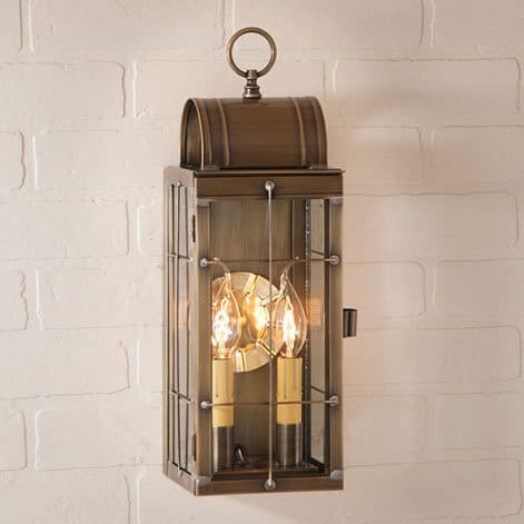 Queen Arch Wall Lantern in Weathered Brass Image