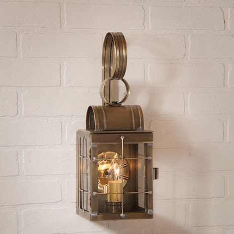 Single Wall Lantern in Weathered Brass Image