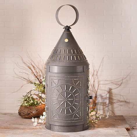 Tinner's Lantern with Chisel Design in Blackened Tin Image