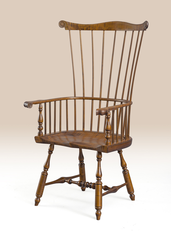Tiger Maple Philadelphia Windsor Armchair Image
