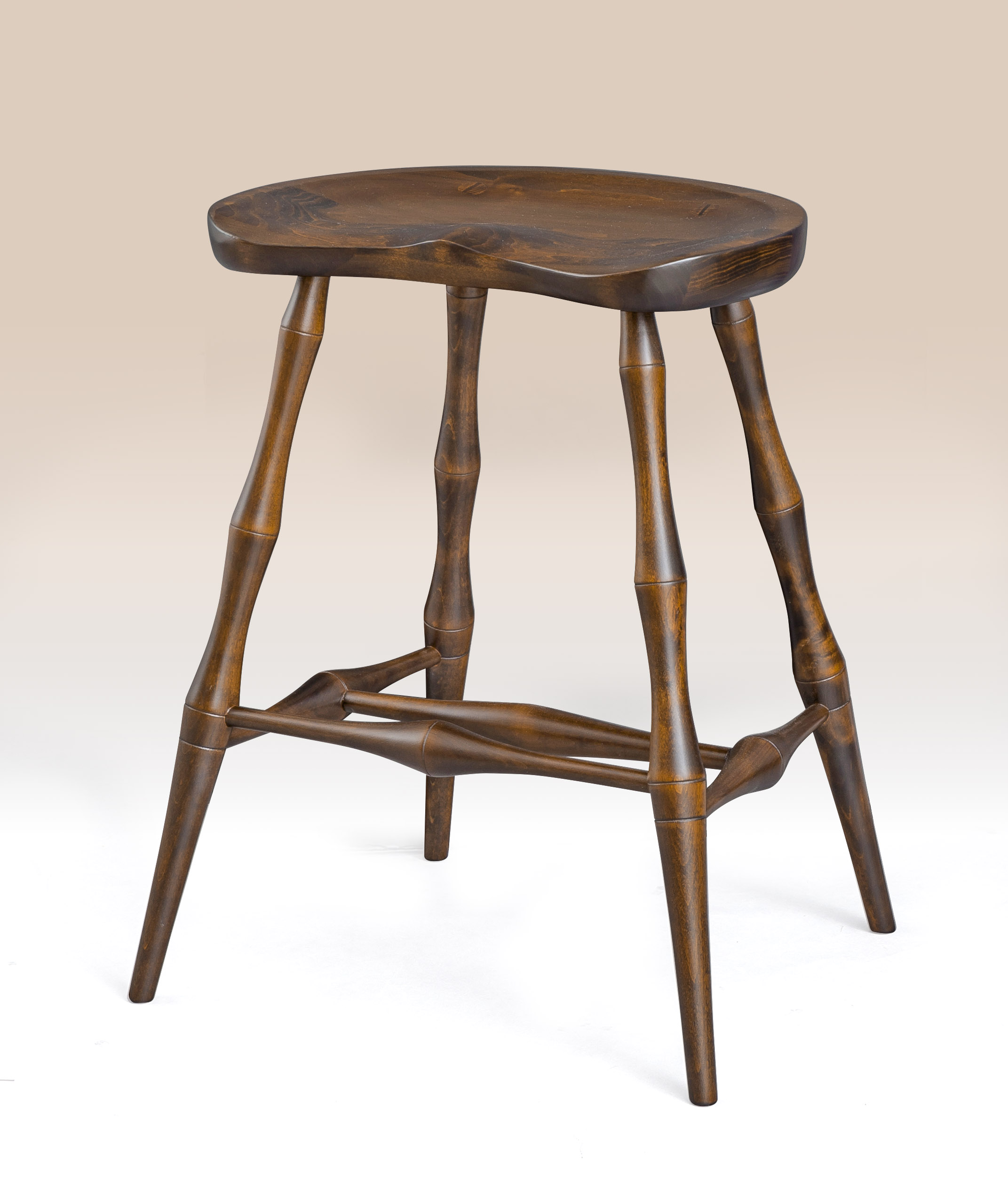 Historical Saddle Seat Stool with Bamboo Style Turnings Image