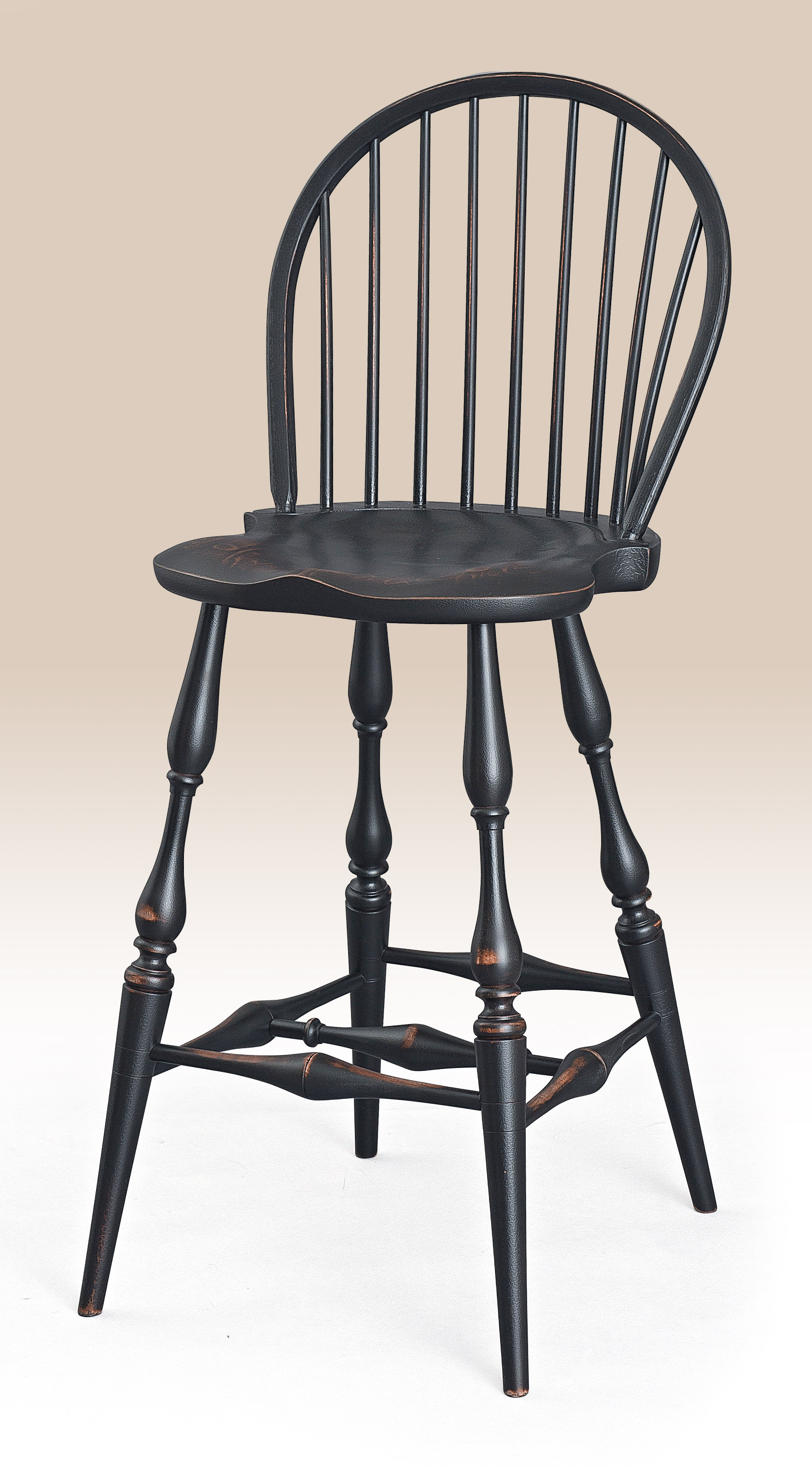 Historical Low Bow-Back Windsor Stool - Non Swivel Image