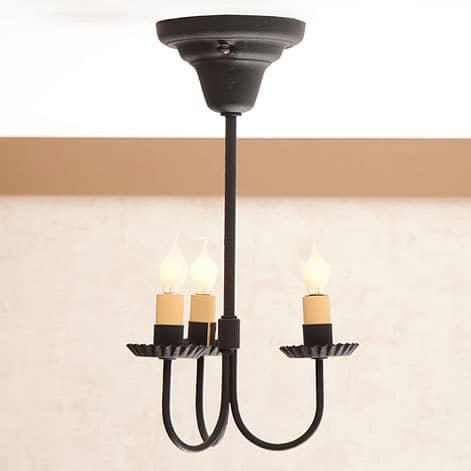 3 Arm Primitive Ceiling Light In Textured Black Image